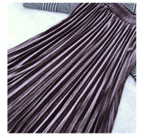 2020 Autumn Winter Women Golden Velvet Long Skirt Korean Ladies Elastic Casual High Waist Skirts Pleated Bottoms B07004R