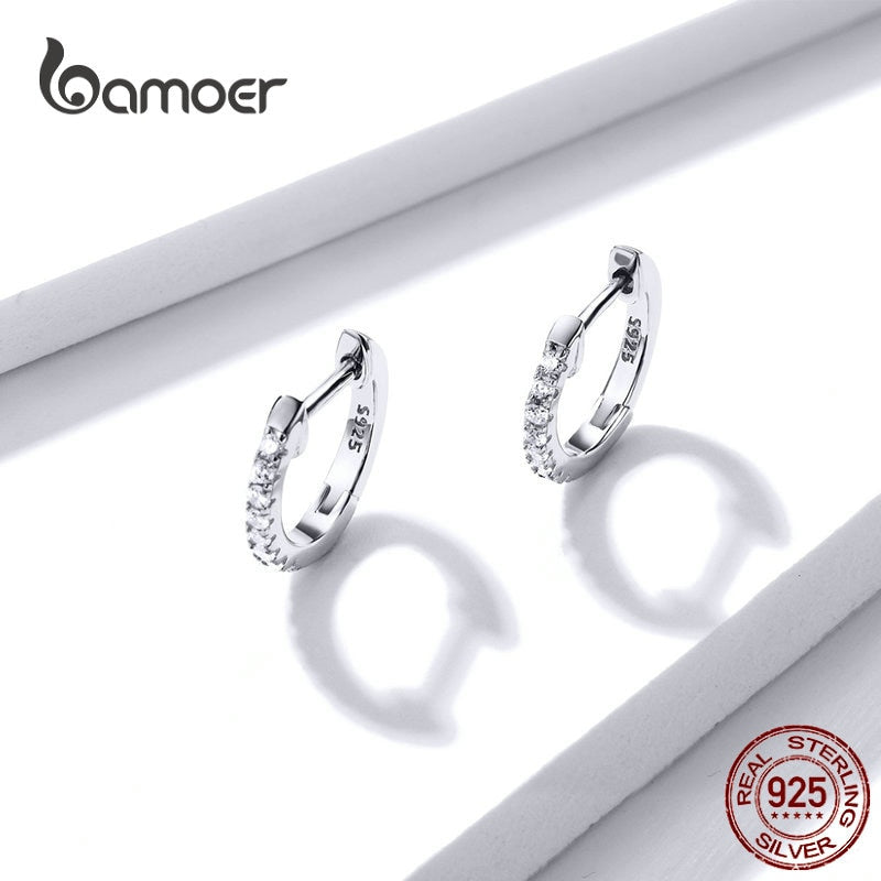 Gold Color 925 Silver Hoop Earrings for Women with Cubic Zirconia 6 Colors Circle Earrings Wedding Jewelry SCE498