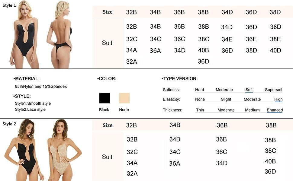 Women Deep V Backless Bodysuit Clear Strap Smooth U Plunge Thong Bottom Shapewear Body Briefer Suit Convertible Seamless shapers