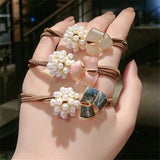 2020 New Korea Women Hair Ropes Big Crystal Pearl Elastic Rubber Band for Girl Fashion Hair Accessories Hair Ties Wholesale