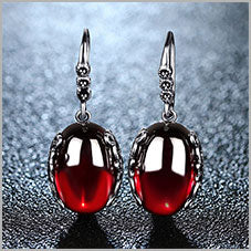 Retro 100% 925 Sterling Silver Round Garnet Drop Earrings For Women Natural Red Gemstone Ruby Fine Jewelry Best Gifts