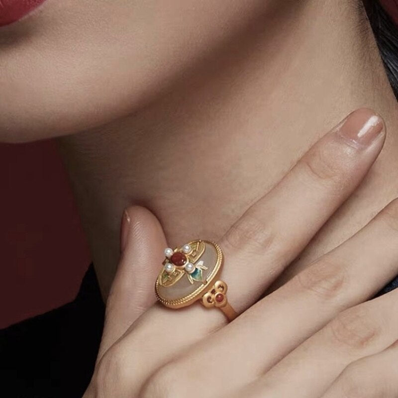 Vintage 925 Sterling Silver Gold-plated Gemstone Ring White Jade Agate Pearl Cloisonne Hollow-out Craft Rings For Women Ethnic