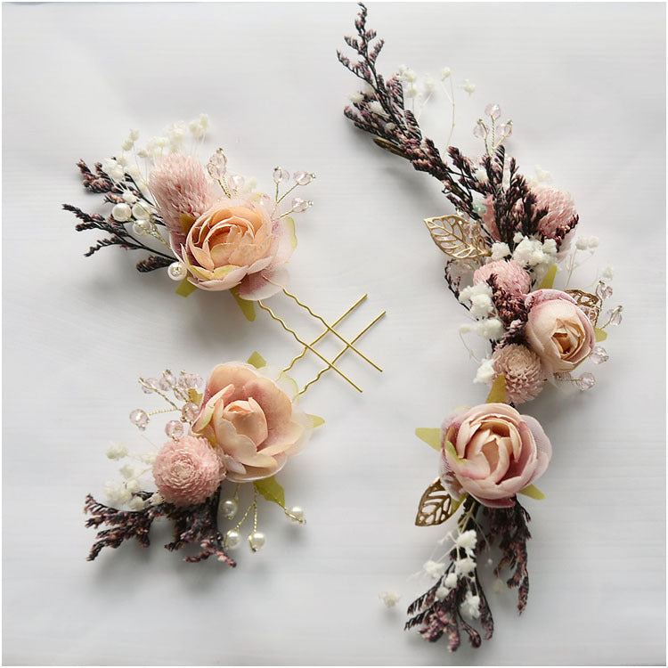 Bride Mori Headdress Dry Lace princess flower Hair Pinch Set Korean bridal Wedding hair Jewelry