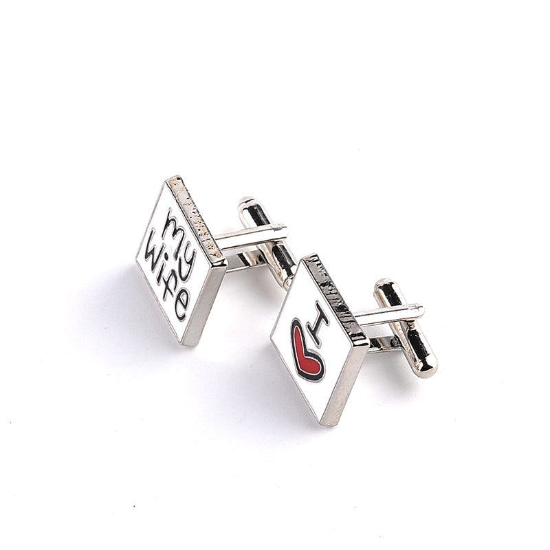 New Fashion Wedding Cufflinks For Mens I Love My Wife Cuff Links Mens Shirt Cuff Button Promotion For Romantic red heart cuflink