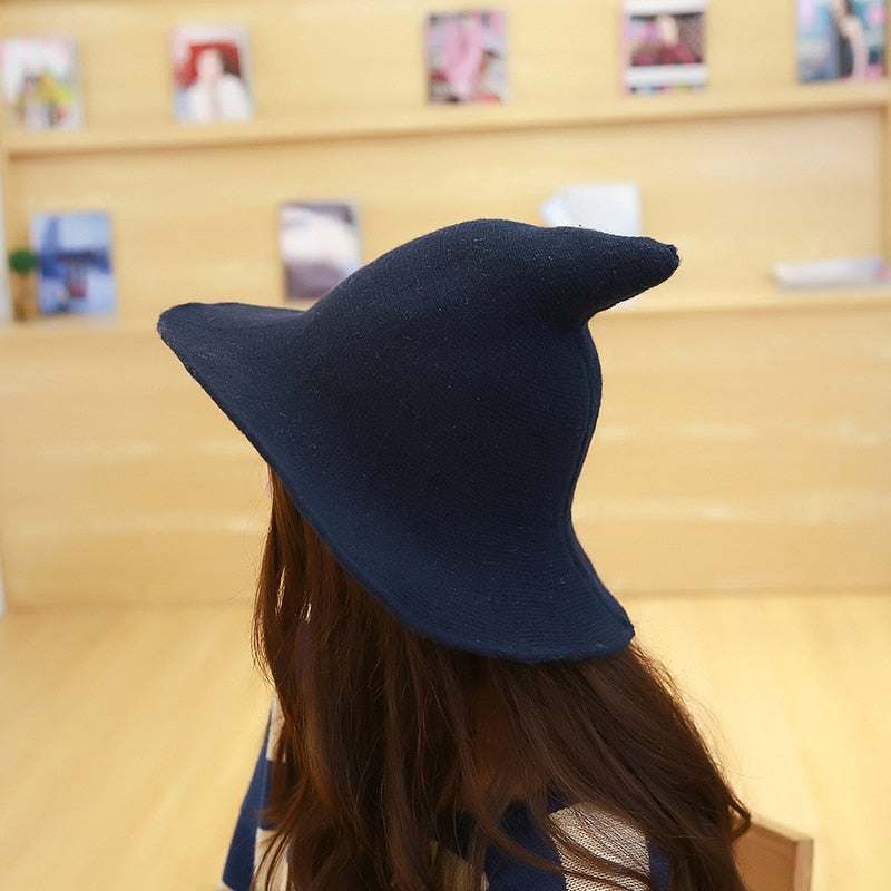 women modern witch hat men Along the sheep wool cap knitting fisherman hat Female fashion witch pointed basin bucket hat