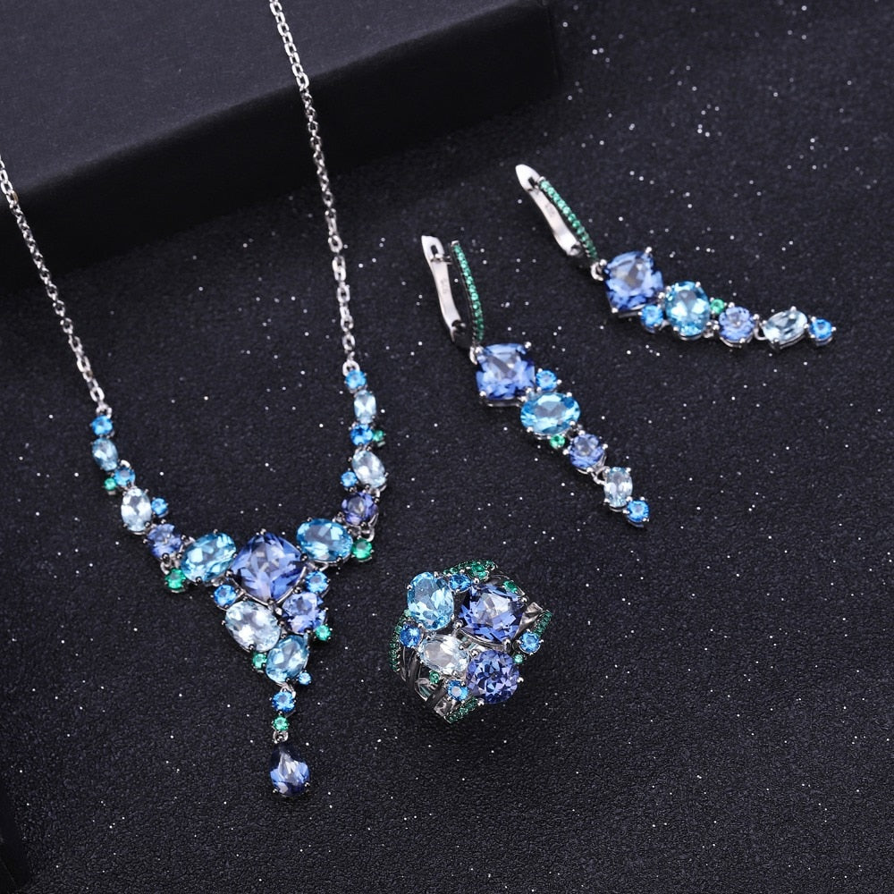 Natural Mystic Quartz Topaz Necklace 925 Sterling Silver Handmade Modern Irregular Necklace for Women Collier