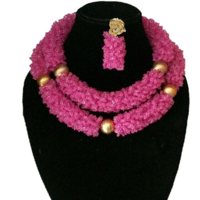 Dubai Jewelry Sets Fuchsia and Gold African Style Weddings Beads 2 Rows Big Nigerian Necklace Set Crystal Fashion Set