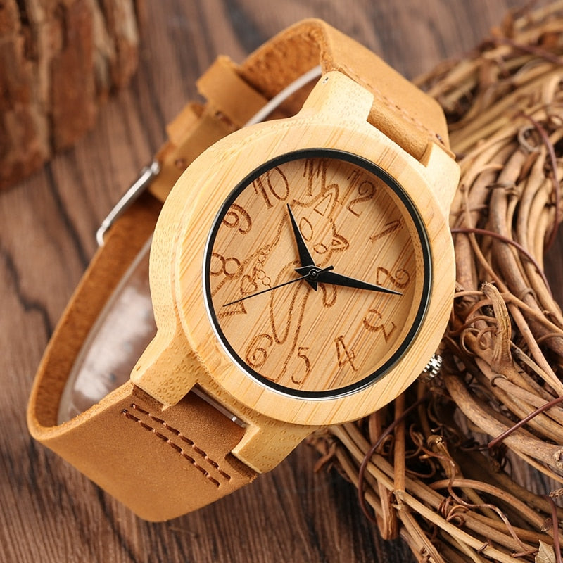 Vintage Wood Watch Men Light Bamboo Lovely Cat Handmade Casual Natural Non-toxic Wooden Clocks Quartz Wristwatches for Men Wome