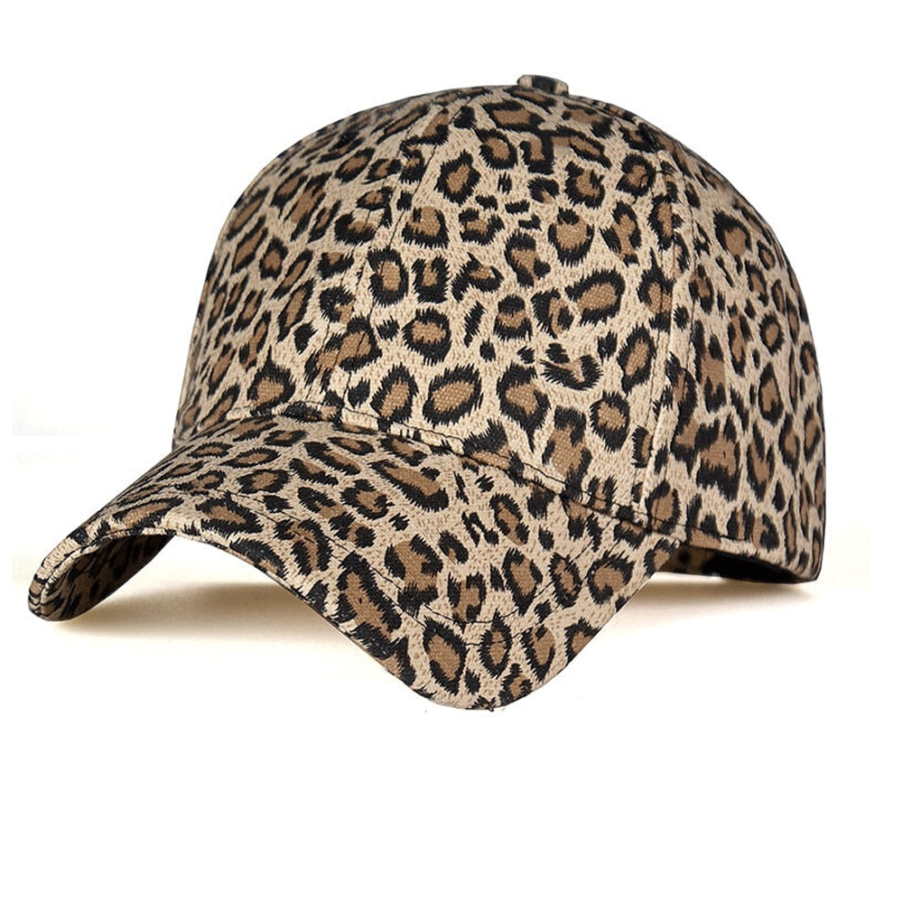 Men Women's Leopard Print Rock Baseball Caps Sports Dance Party Hats Snapback Sun Hats Hip-Hop Adjustable Caps Gold Gray
