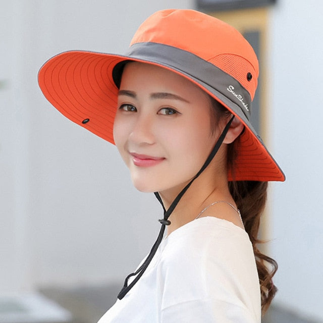 LAFEITE Safari Sun Hats For Women Summer Wide Brim UV UPF Ponytail Outdoor Hunting Fishing Hiking Hat Women 2019