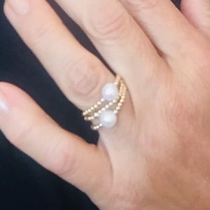 Gold Bead Ball ring