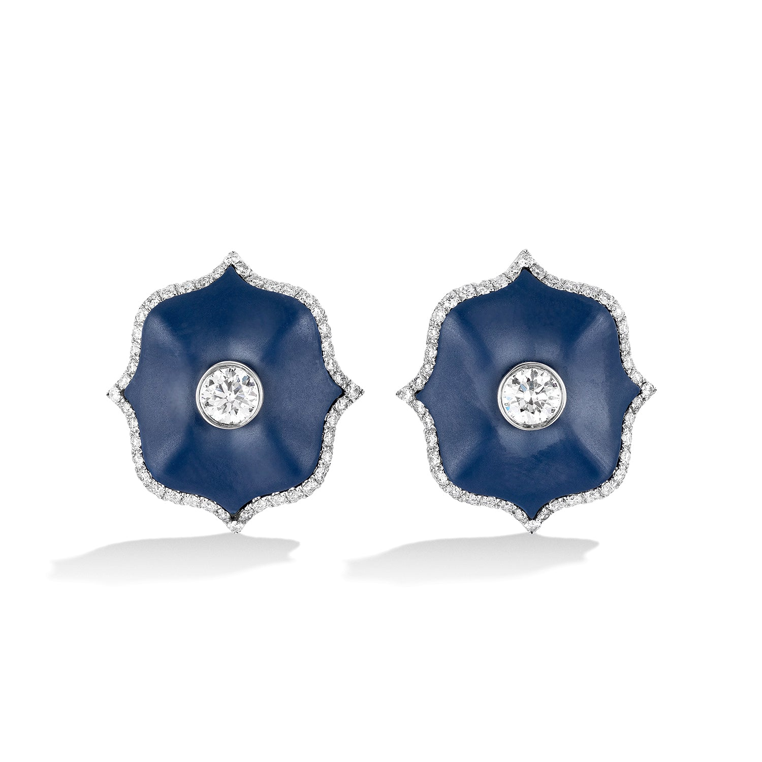 Diamond & Blue Ceramic Mini Lotus Earrings