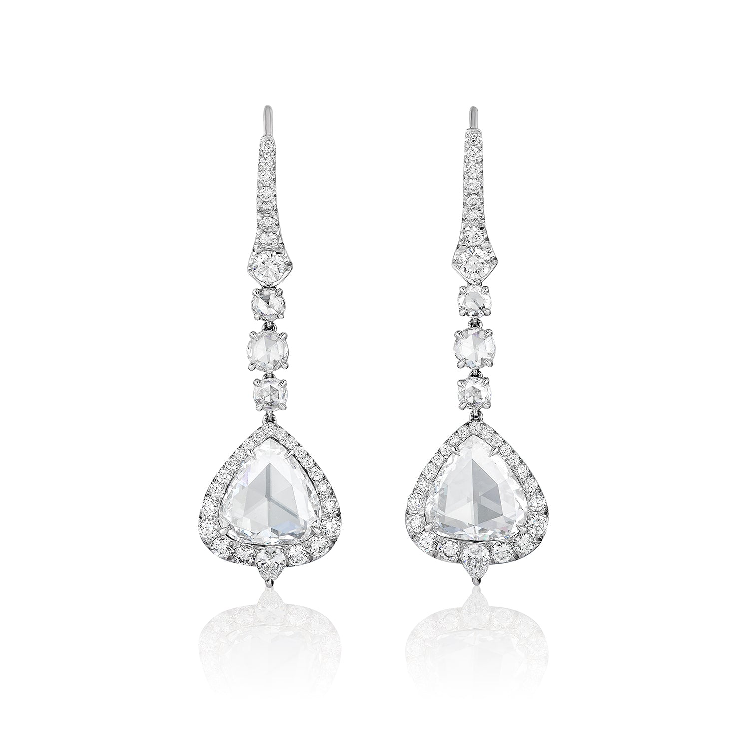 Rose-Cut Diamond & Diamond Earrings