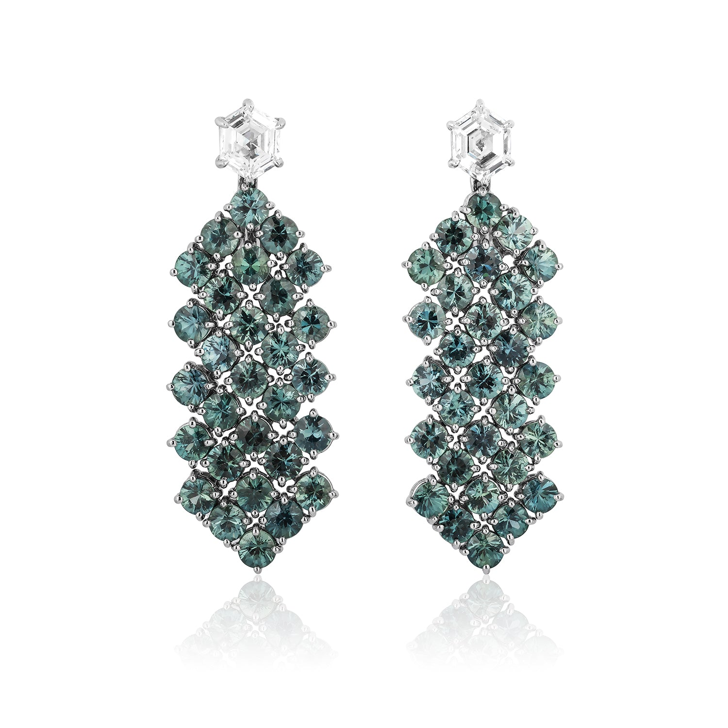 Green Sapphire & Diamond Earrings