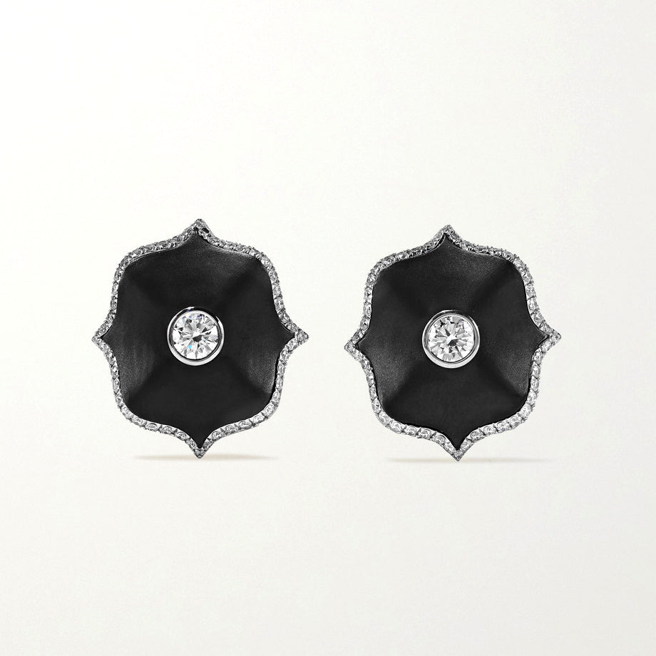 Diamond & Black Ceramic Mini Lotus Earrings