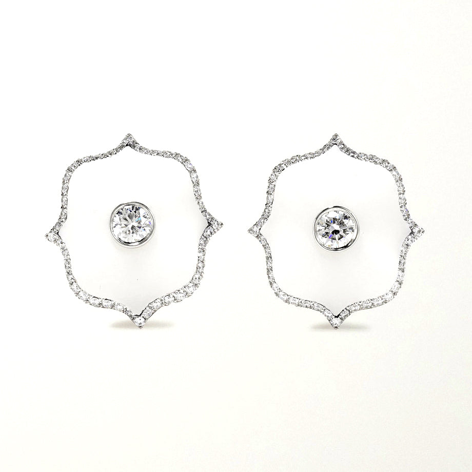 Diamond & White Ceramic Mini Lotus Earrings