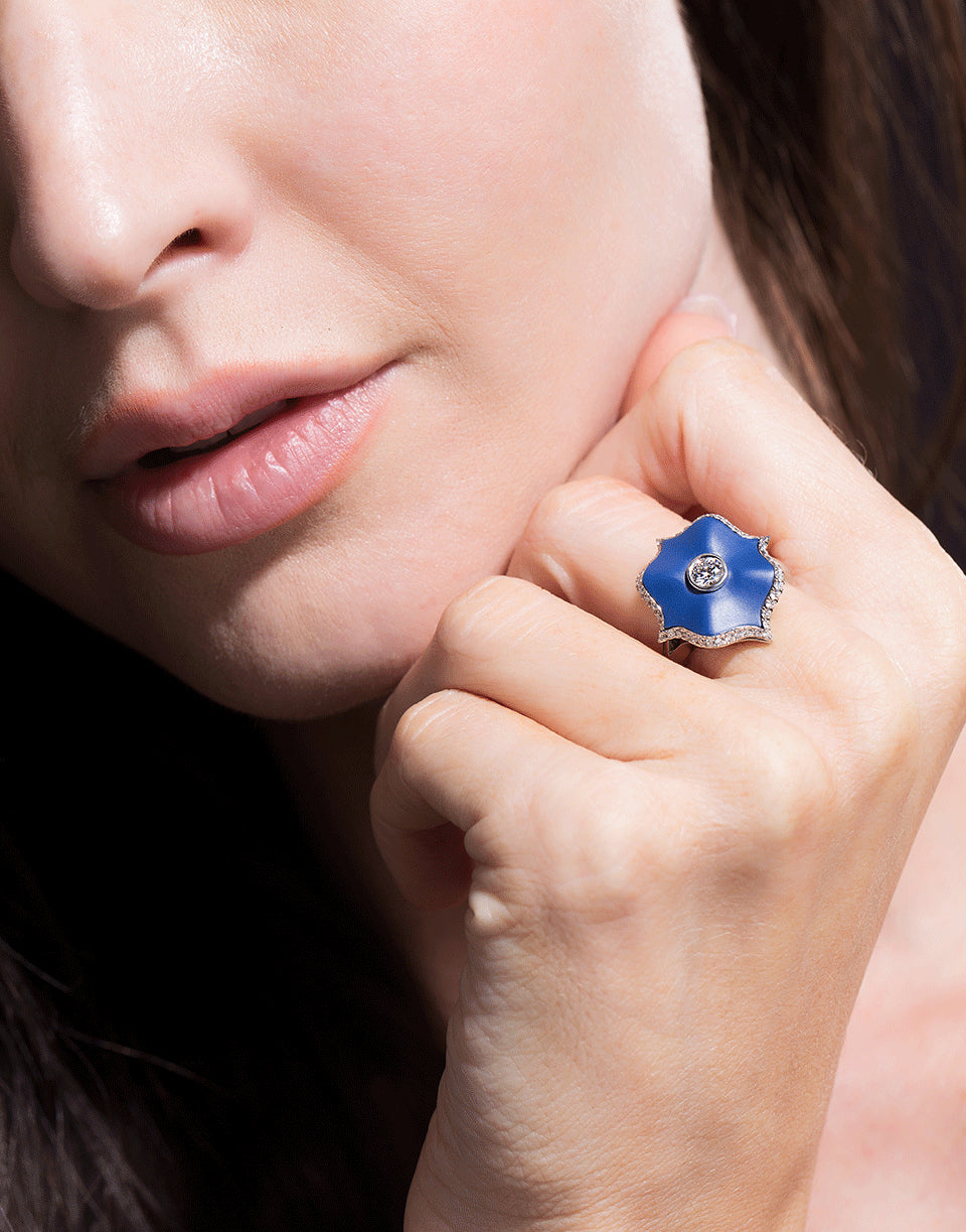 Diamond & Blue Ceramic Mini Lotus Ring