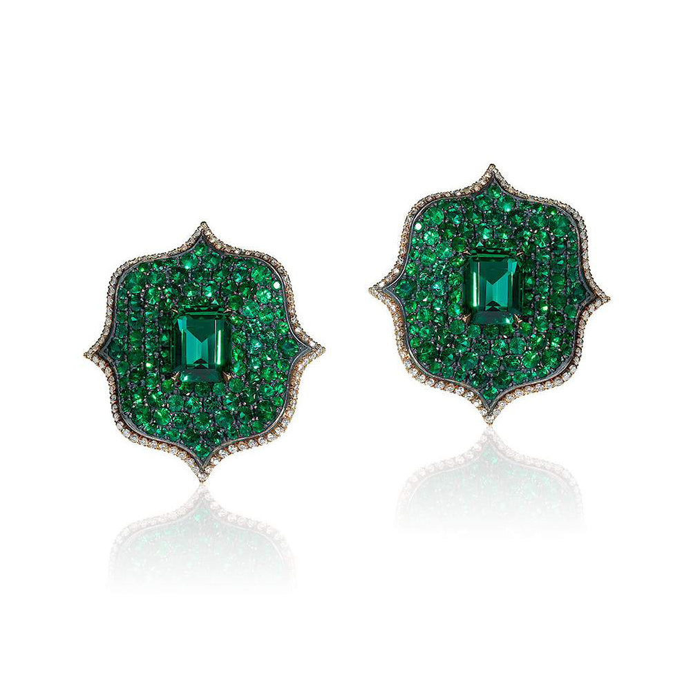 Emerald & Diamond Lotus Earrings