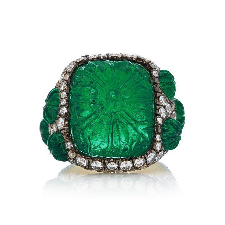 Carved Emerald & Diamond Ring