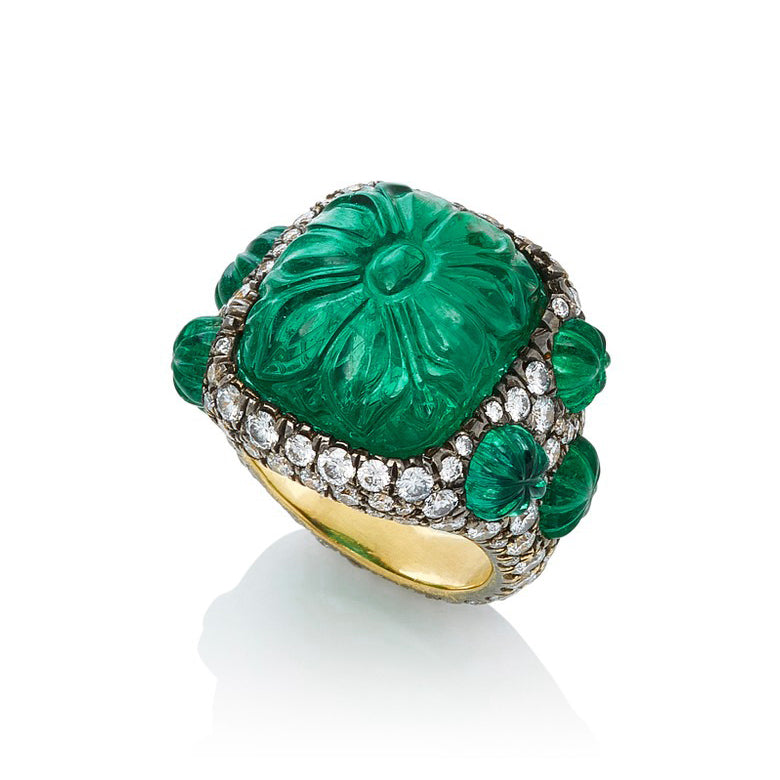 Carved Emerald Amp Diamond Ring Bayco Jewels