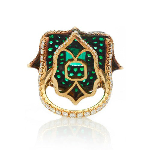 Emerald & Diamond Lotus Ring