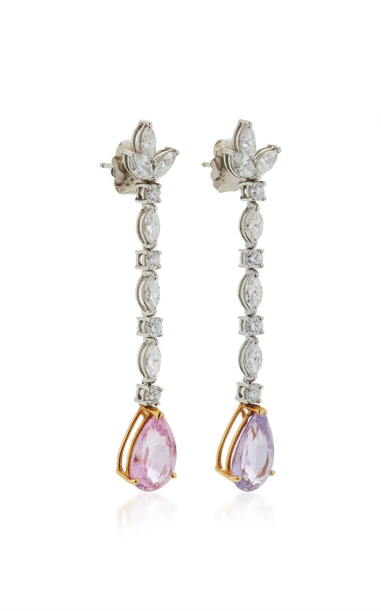 Pink & Purple Sapphire & Diamond Earrings