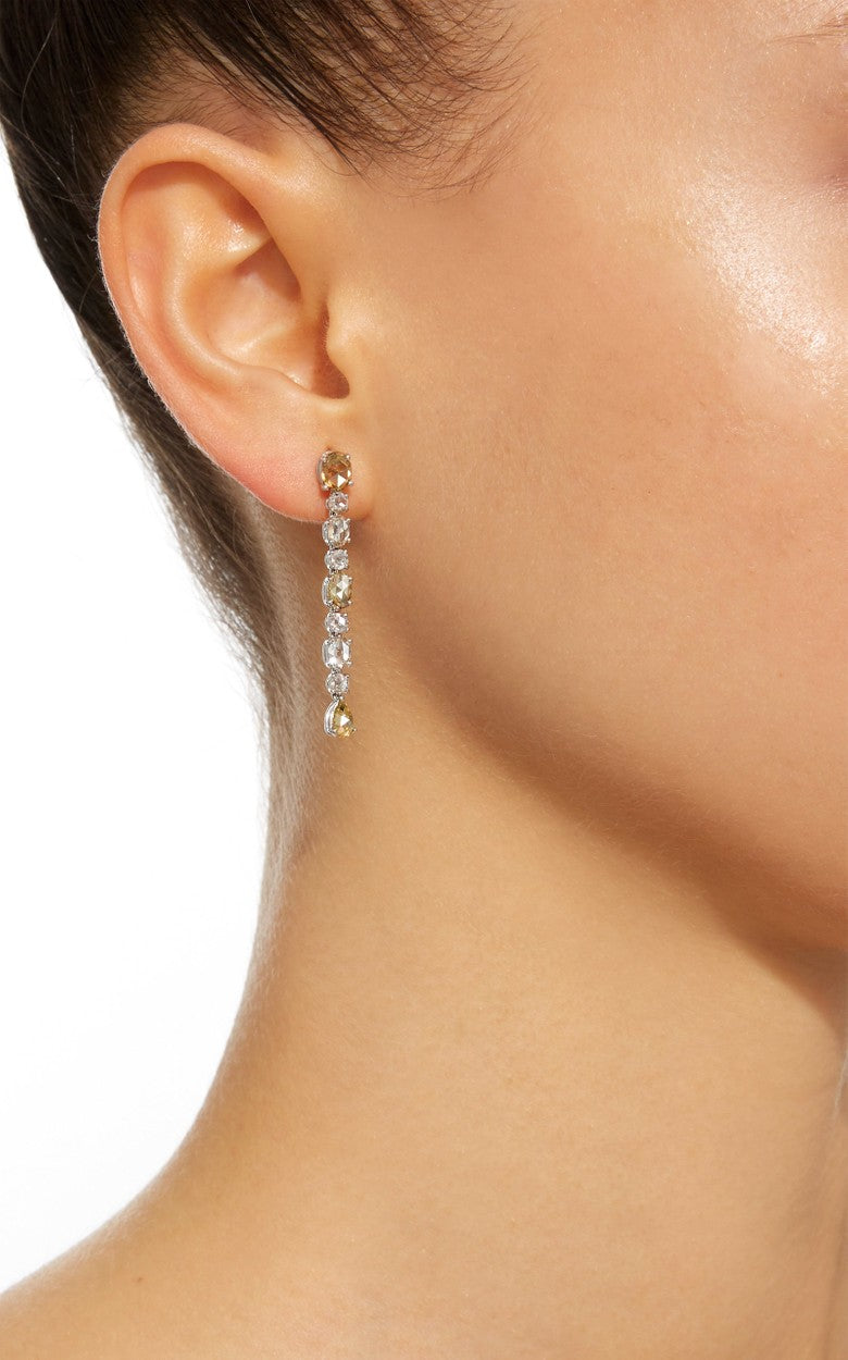 Natural Colored Rose-Cut Diamond Earrings