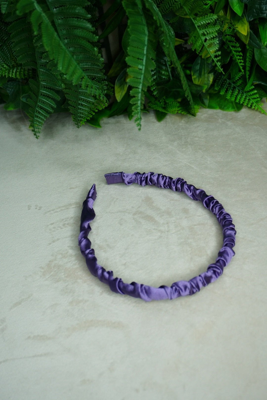 Dark purple Silk Ruffled Headband - PhivestarhairboutiqueDark purple Silk Ruffled Headband