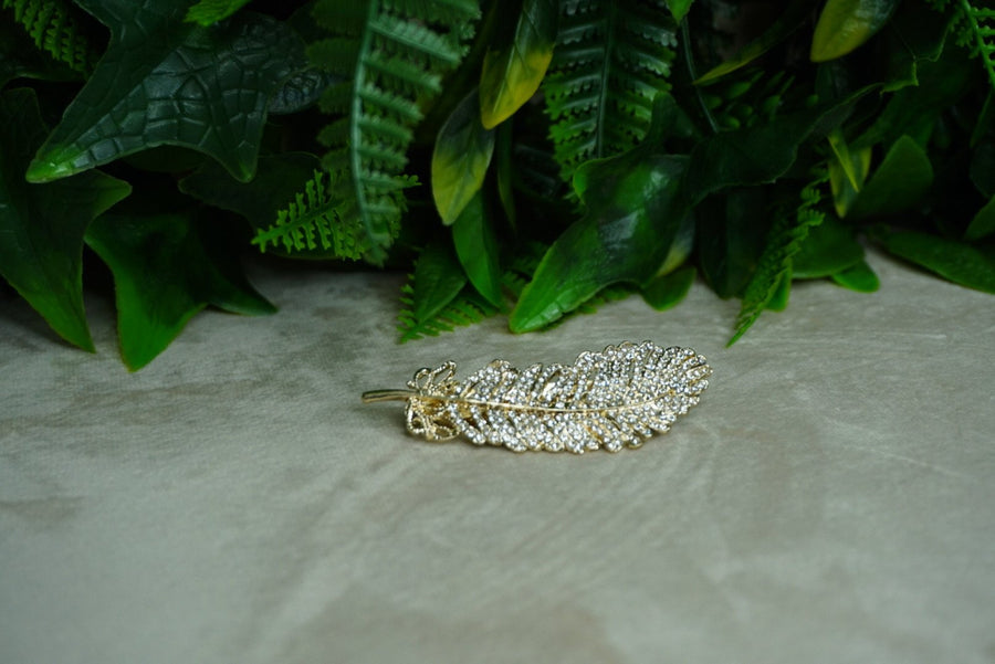 Gold Feathered Barrette - PhivestarhairboutiqueGold Feathered Barrette