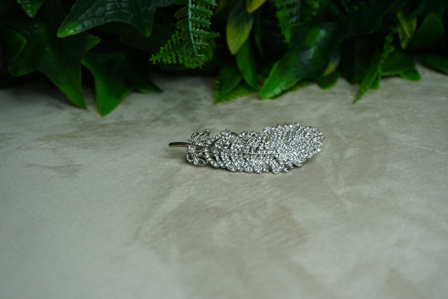 Silver Feathered Barrette - PhivestarhairboutiqueSilver Feathered Barrette