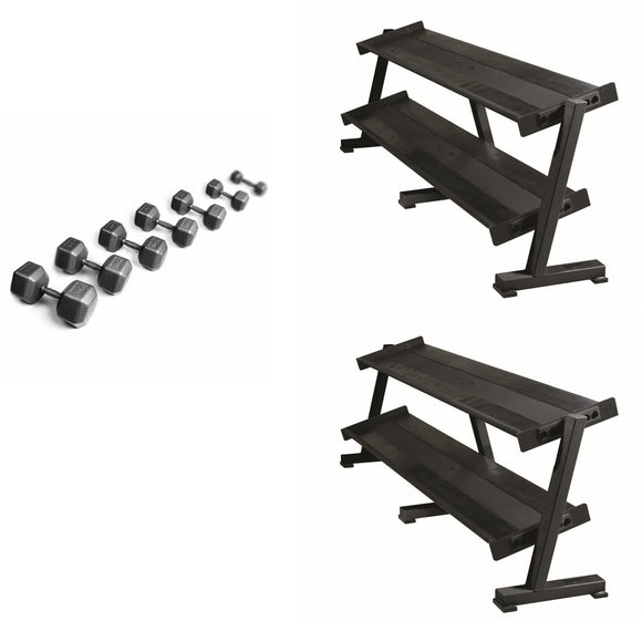 PRO Hex Dumbbell Stock Set With Racks
