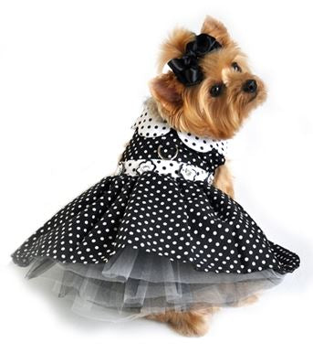 Black and White Polka Dot Dress with D-Ring and Leash