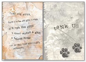 Dog Speak - Dog Sitter Letter - Thank You - Greeting Card
