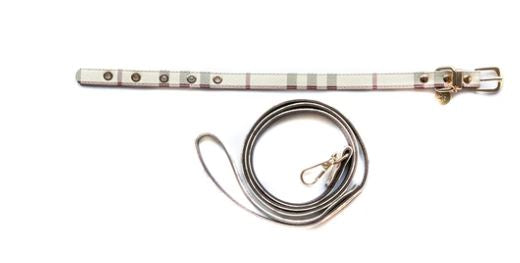 FURBERRY CHECK COLLAR & LEASH SET