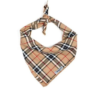 Tan Plaid Tie Bandana