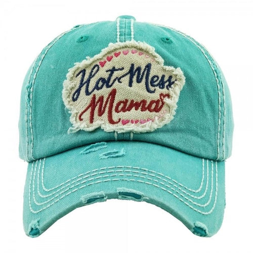 """Hot Mess Mama"" distressed vintage baseball cap"