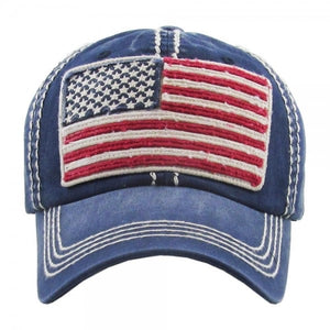 Faded distressed American Flag embroidered baseball cap.