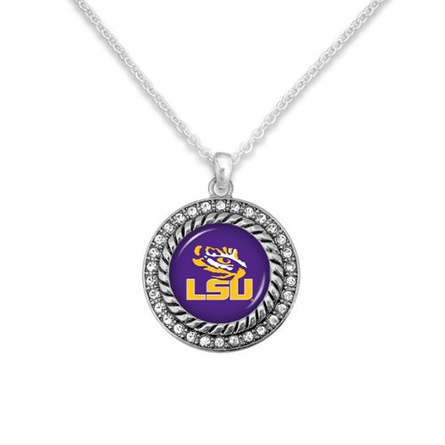 LSU Game Day Pendant Necklace Featuring Rhinestone Accents