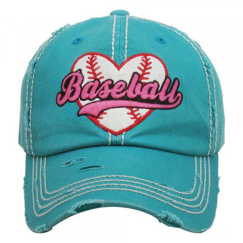 Baseball Heart Embroidered Distressed Vintage Style Baseball Cap.