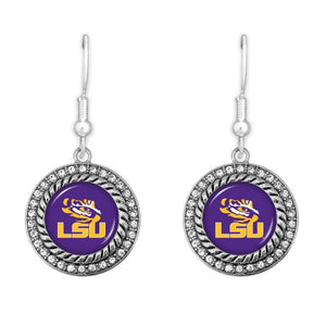 LSU Game Day Drop Earrings Featuring Rhinestone Accents