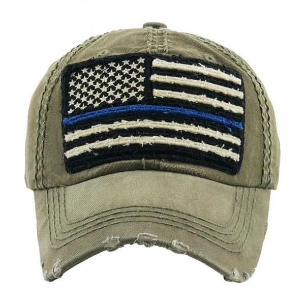 Faded distressed Thin Blue Line American Flag embroidered baseball cap-Olive