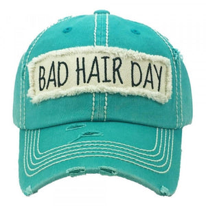 """Bad Hair Day"" embroidered, vintage style ball cap with washed-look details-Turquoise"