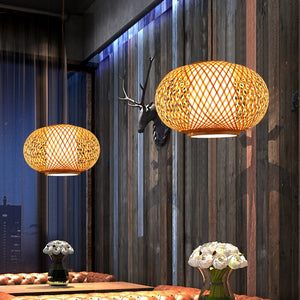 Hand Knitted Bamboo Pendant Light