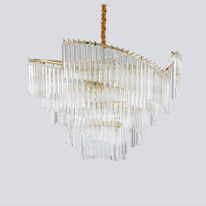 Modern Art Deco Gold Colored Chandelier