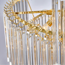 Load image into Gallery viewer, Modern Art Deco Gold Colored Chandelier