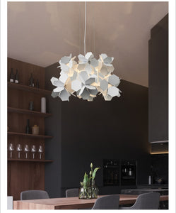 Modern Nordic Chandelier w/Iron Hanging Lights (White or Black) for Dining Room or Living Room