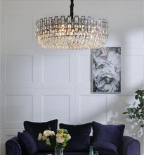 Load image into Gallery viewer, Modern Round Black Crystal Chandelier