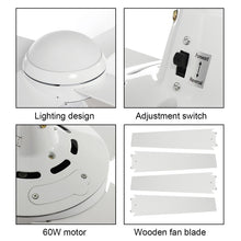 "Load image into Gallery viewer, Modern Ceiling Fan Light w/ Curved Blades (52"") + Remote Control"