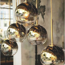 Load image into Gallery viewer, Luxurious Silver or Gold Glass Pendant Chandelier Lights