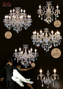 Modern Crystal Chandelier w/Decorative Tiffany Style Pendants